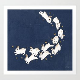 Rabbits run Art Print