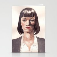 mia wallace Stationery Cards featuring Mia Wallace by Ow Wei Yi