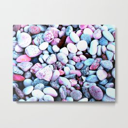 Bright Pink & Gray Blue Rocks Metal Print