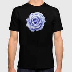 Ballpoint Blue Rose Mens Fitted Tee LARGE Black