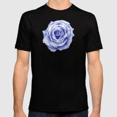 Ballpoint Blue Rose Black MEDIUM Mens Fitted Tee