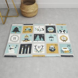 Christmas countdown with cute Christmas animals Rug