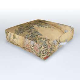 Japanese Edo Period Six-Panel Gold Leaf Screen - Spring and Autumn Flowers Outdoor Floor Cushion