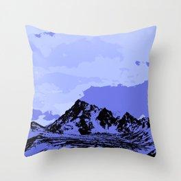 Chugach Mountains - Blue Pop Art Throw Pillow