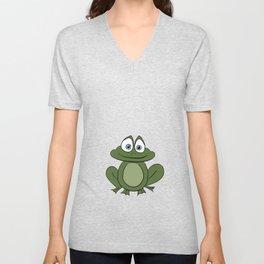 Froggy Frog - Cute Kids Bedroom/Bathroom Art Unisex V-Neck