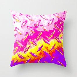 Bright Pink Yellow Purple Industrial Metal Sheeting Digital Photo Edited Throw Pillow