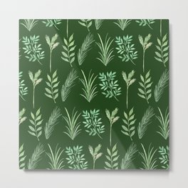 Bouquet of branches and leaves pattern,  Dark Green background Metal Print