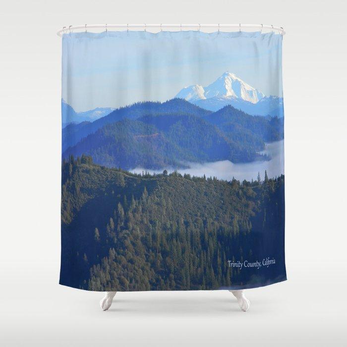 Past the drifting fog is Mount Lassen... Shower Curtain