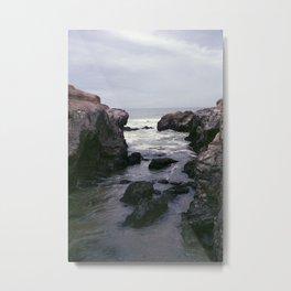 Dark and Rocky Coastline Metal Print