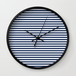 White and Navy Blue Stripe - Horizontal Stripe - Nautical Wall Clock