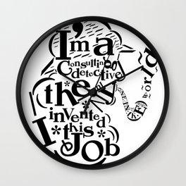 Sherlock Goes Typography (Holmes, Watson) Wall Clock