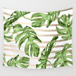 Simply Tropical White Gold Sands Stripes and Palm Leaves Wall Tapestry