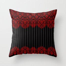 Beautiful Red Damask Lace and Black Stripes Throw Pillow