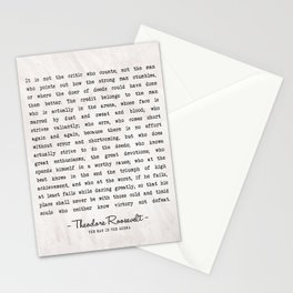 The Man In The Arena Art Print - Theodore Roosevelt Famous Quote - Vintage Typewritten Literary Quote - Classic Quotes Stationery Cards
