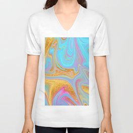 Candy Addict Colorful Marble Abstract Unisex V-Neck