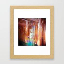 Kitsune Japanese double exposure at the Fushimi Inari Shrine Framed Art Print