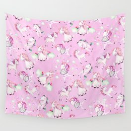 Cute Girly Pink Unicorn Rainbow Watercolor Wall Tapestry