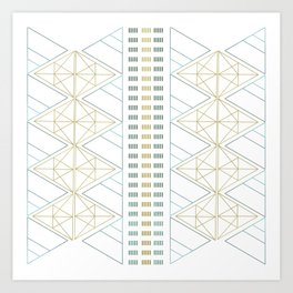 Gold Aqua Geometric Pattern 1.0 Art Print