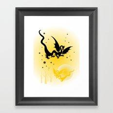 Moon Night Dragons Framed Art Print