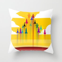 colorful rockets Throw Pillow