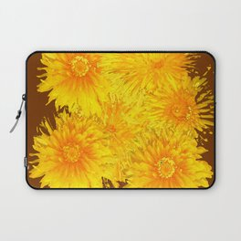 ABSTRACTED COFFEE BROWN   FIRST SPRING YELLOW DANDELIONS Laptop Sleeve