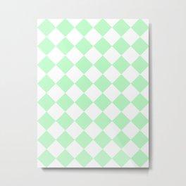 Large Diamonds - White and Light Green Metal Print