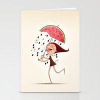 mandie manzano Stationery Cards featuring Watermelon by José Luis Guerrero