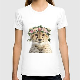 Baby Cheetah With Flower Crown, Baby Animals Art Print By Synplus T-shirt