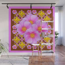 Chocolate Brown Pink Wild Roses Pattern Art Wall Mural