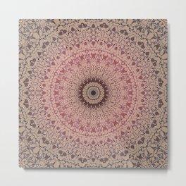 Pink brown mandala 2 Metal Print
