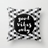 good vibes only Throw Pillows featuring Good Vibes Only - Hexagon by Indulge My Heart