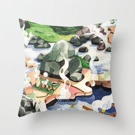 Hot spring onsen egg watercolor Throw Pillow