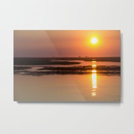 Sunset over the Okavango Delta Metal Print