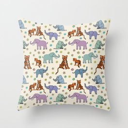 Daisies, Tigers and Elephants Throw Pillow