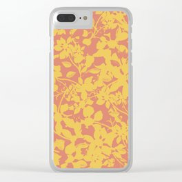 Yellow and Coral Botanical Pattern - Broken but Flourishing Clear iPhone Case