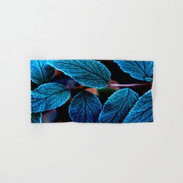 Peacock Blue Leaves Nature Background #decor #society6 #buyart Hand & Bath Towel