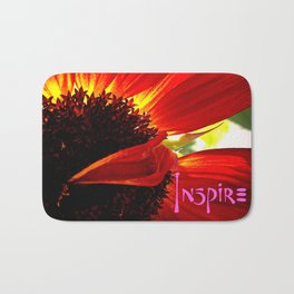 """Inspire"" quote stylish, red orange daisy close-up photo Bath Mat"