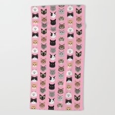Cute Cat breed faces smiling kitten must have gifts for cat lady cat man cat lover unique pets Beach Towel