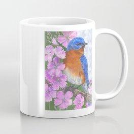 Bluebird and Pink Flowers Coffee Mug