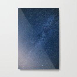 Blue Glitter Galaxy Art Metal Print