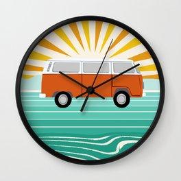 Peace, man - retro 70s hippie bus surfing socal california minimal 1970's style vibes Wall Clock