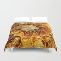 minerals Duvet Covers featuring AMAZING AMMONITE by Catspaws