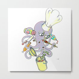Master Chef Octopus Stew Octopi Metal Print
