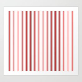 Mattress Ticking Wide Striped Pattern in Red and White Art Print