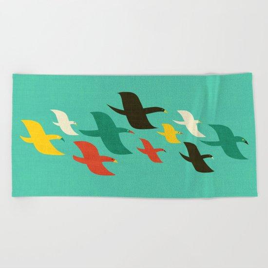 Birds are flying Beach Towel