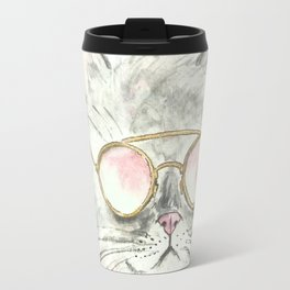 Sunglasses Kitten watercolor Travel Mug