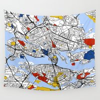 stockholm Wall Tapestries featuring Stockholm mondrian by Mondrian Maps
