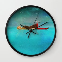 Night sea and woman Wall Clock