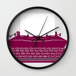 The Lonely Typewriter {dark plum} Wall Clock