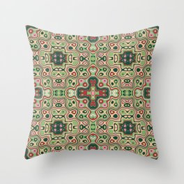 Red and Green Folk Americana Print Throw Pillow